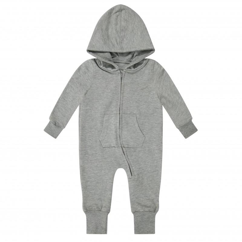07f449f11b0c Baby Toddler Fleece Onesie in Grey Marl by Kids Wholesale Clothing