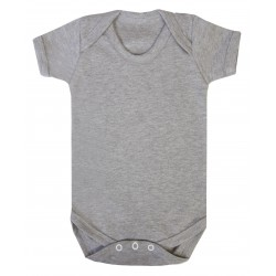 Grey Marl Baby Short Sleeve Bodysuit