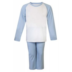 Light Blue and White Long Raglan Sleeve Pyjama Set