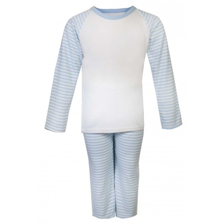 Light Blue Stripe Long Raglan Sleeve Pyjama Set