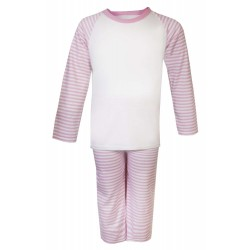 Pink Stripe Long Raglan Sleeve Pyjama Set