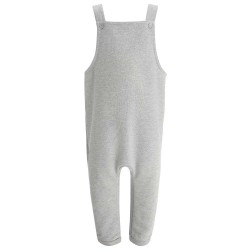 Kids Fleece Dungarees in Grey Marl