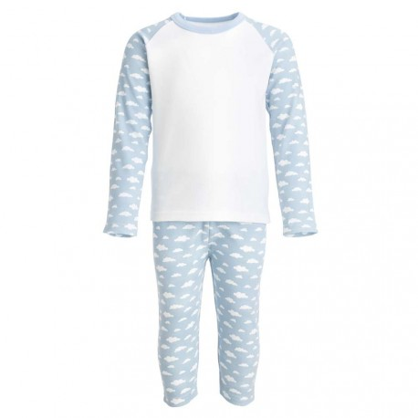 Grey and White Long Raglan Sleeve Pyjama Set