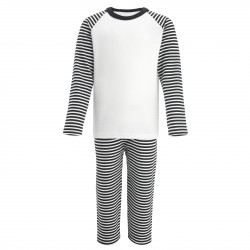 Black Stripe Long Raglan Sleeve Pyjama Set