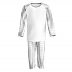 Grey Stripe Long Raglan Sleeve Pyjama Set