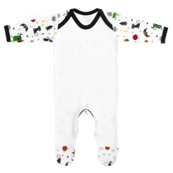 Baby Plain Chest Rompersuit in Monster Print