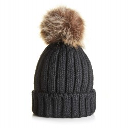 Children's Chunky Knit Beanie in Black