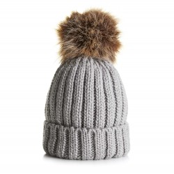 Children's Chunky Knit Beanie in Grey