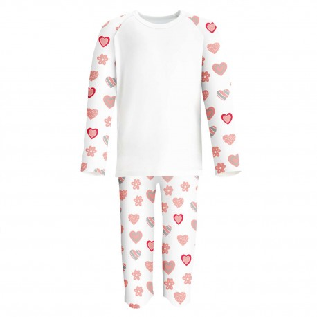 Heart Print Print Long Sleeve Pyjama Set