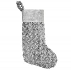 Plush Christmas Stocking in Grey