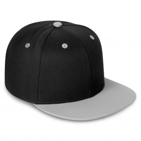 Kid's Contrast Snapback Cap in Black/Grey