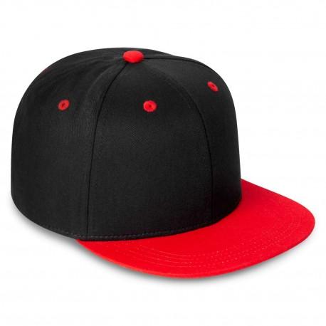 Kid's Contrast Snapback Cap in Black/Red