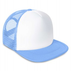 Kid's Mesh Trucker Snapback Cap in Light Blue
