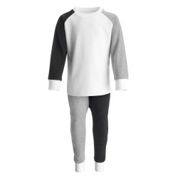 Loungewear Contrast Set in Black/Grey/White