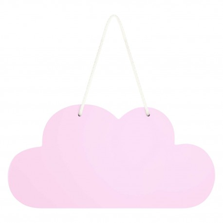 Wooden Cloud Hanging Decoration In Pink