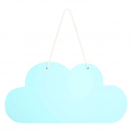 Wooden Cloud Hanging Decoration In Blue