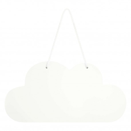 Wooden Cloud Hanging Decoration In White