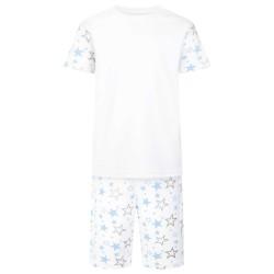 Star Print Short Sleeve Pyjama Set in Light Blue