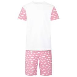 Cloud Print Short Sleeve Pyjama Set in Pink