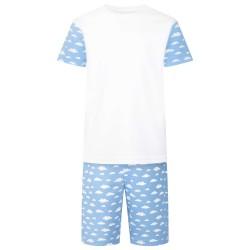 Cloud Print Short Sleeve Pyjama Set in Light Blue