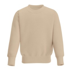 Kids's Crew Neck Fleece Sweatshirt in Warm Taupe