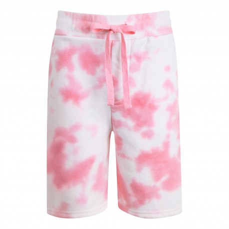 Cotton Shorts in Tie Dye Pink