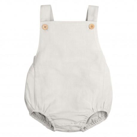 Baby Cotton Linen Romper in Frozen Grey