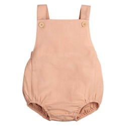 Baby Cotton Linen Romper in Pink