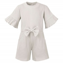 Ribbed Playsuit in Frozen Grey