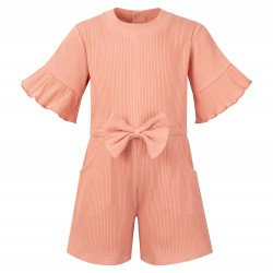 Ribbed Playsuit in Dusty Pink
