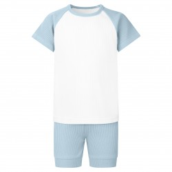 Ribbed T-Shirt & Short Set In Dusty Blue
