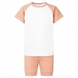 Ribbed T-Shirt & Short Set In Dusty Pink