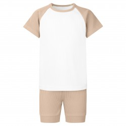 Ribbed T-Shirt & Short Set In Warm Taupe