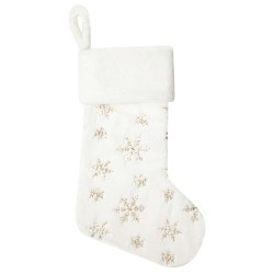 Plush Christmas Stocking in Cream with Gold Sequins