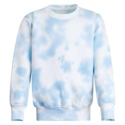 Kids's Crew Neck Fleece Sweatshirt in Tie Dye Light Blue